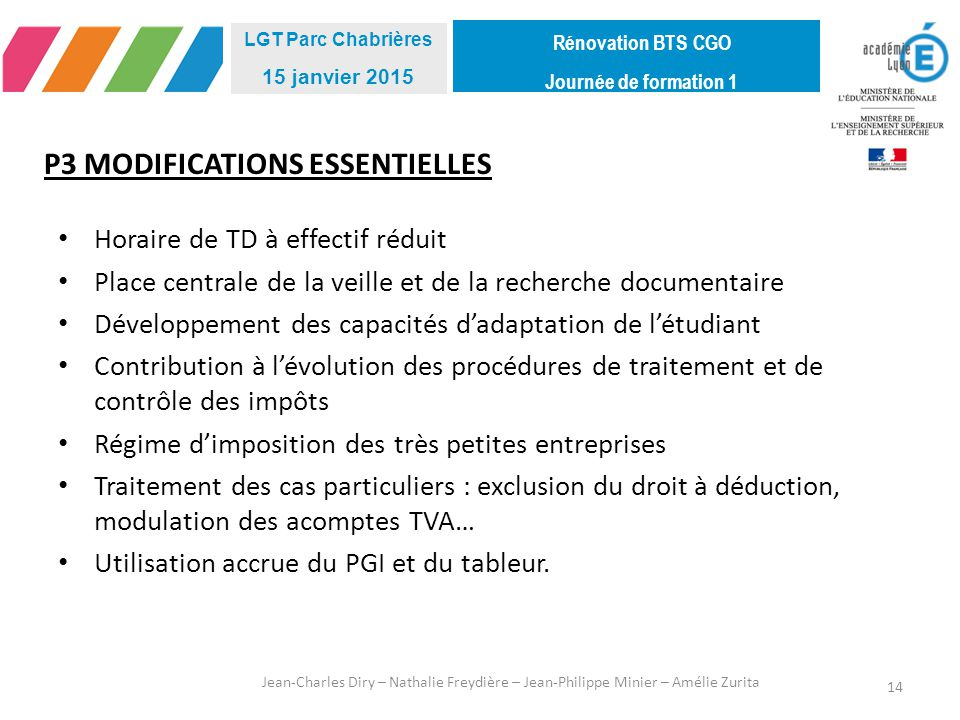 P3 MODIFICATIONS ESSENTIELLES