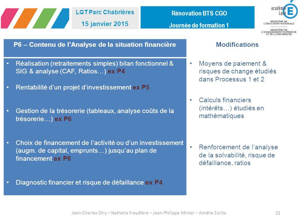 P6 – Contenu de l'Analyse de la situation financière