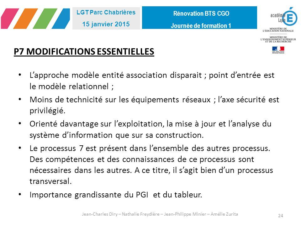 P7 MODIFICATIONS ESSENTIELLES