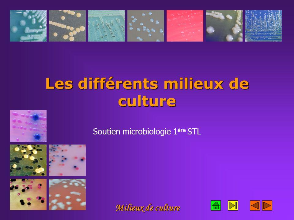 Les différents milieux de culture