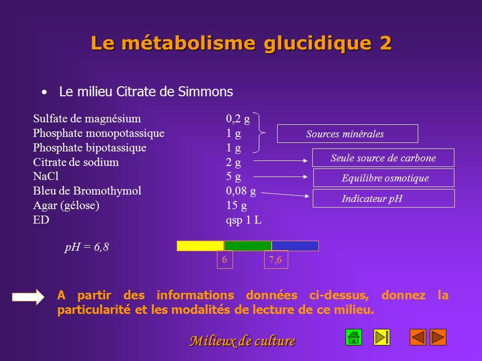 Le métabolisme glucidique 2