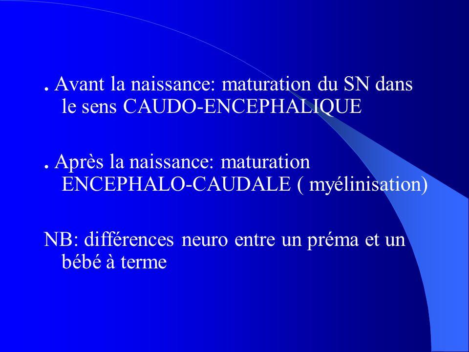. Avant la naissance: maturation du SN dans le sens CAUDO-ENCEPHALIQUE