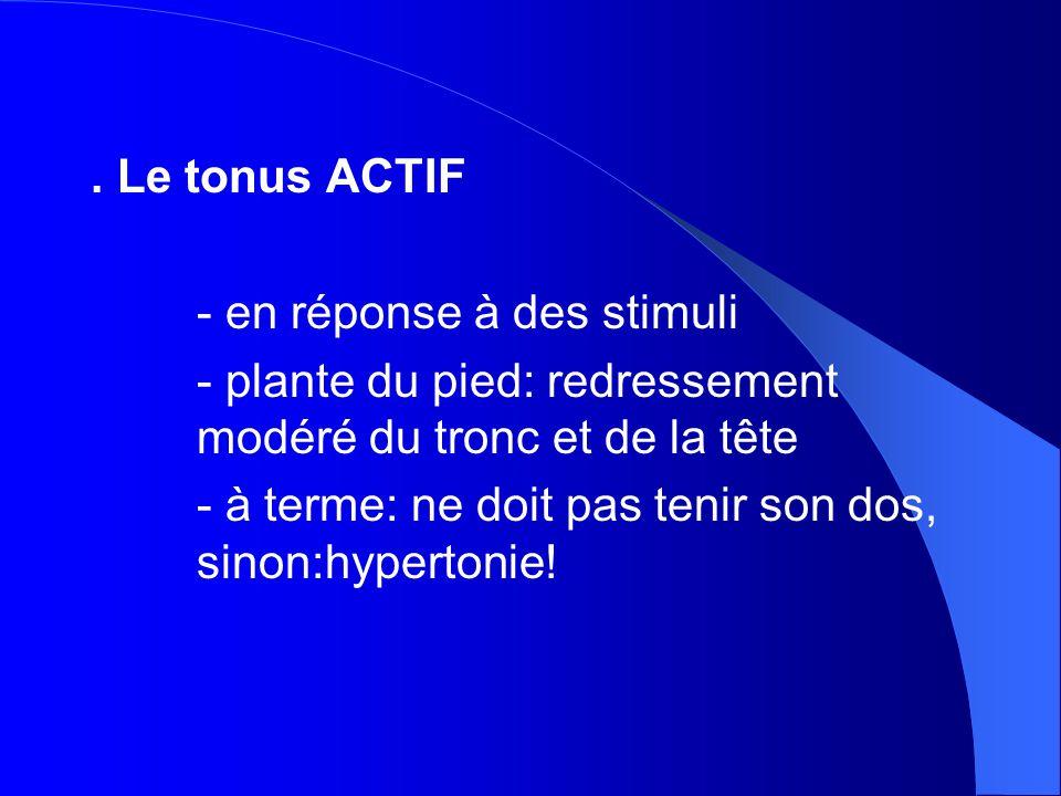 . Le tonus ACTIF - en réponse à des stimuli. - plante du pied: redressement modéré du tronc et de la tête.