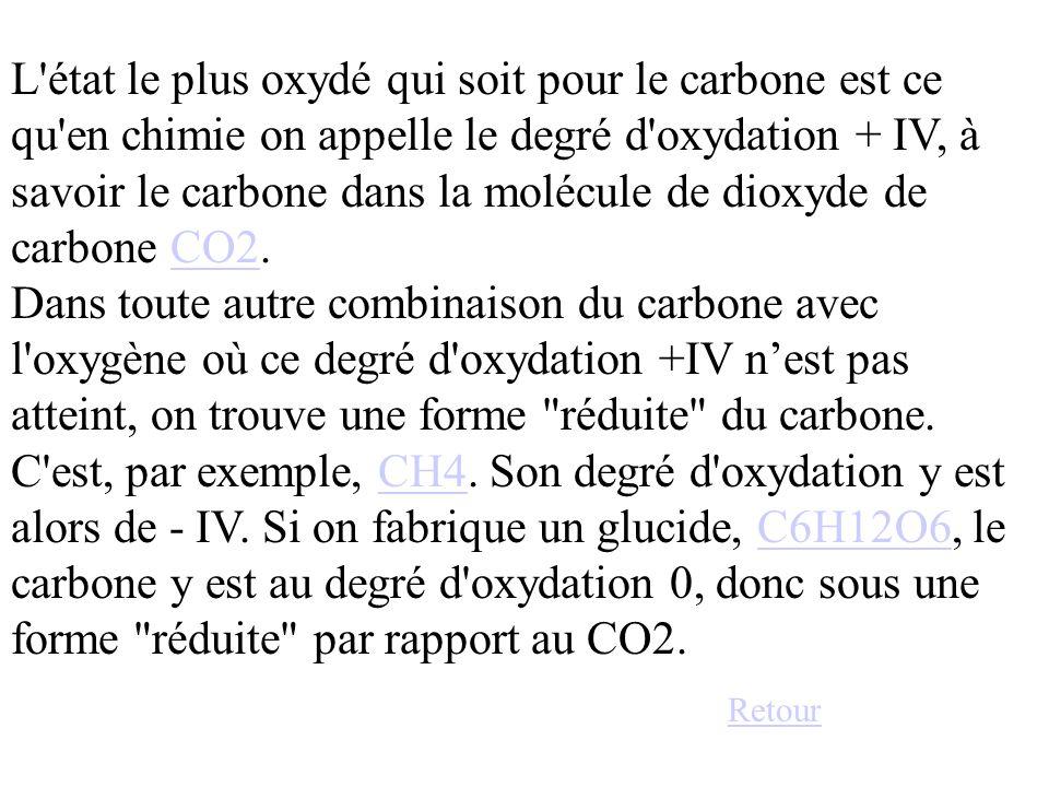 L état le plus oxydé qui soit pour le carbone est ce qu en chimie on appelle le degré d oxydation + IV, à savoir le carbone dans la molécule de dioxyde de carbone CO2. Dans toute autre combinaison du carbone avec l oxygène où ce degré d oxydation +IV n'est pas atteint, on trouve une forme réduite du carbone. C est, par exemple, CH4. Son degré d oxydation y est alors de - IV. Si on fabrique un glucide, C6H12O6, le carbone y est au degré d oxydation 0, donc sous une forme réduite par rapport au CO2.