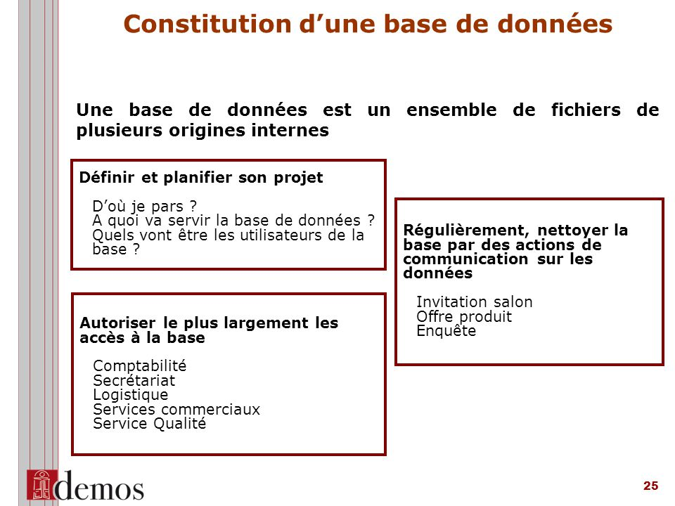 Constitution d'une base de données