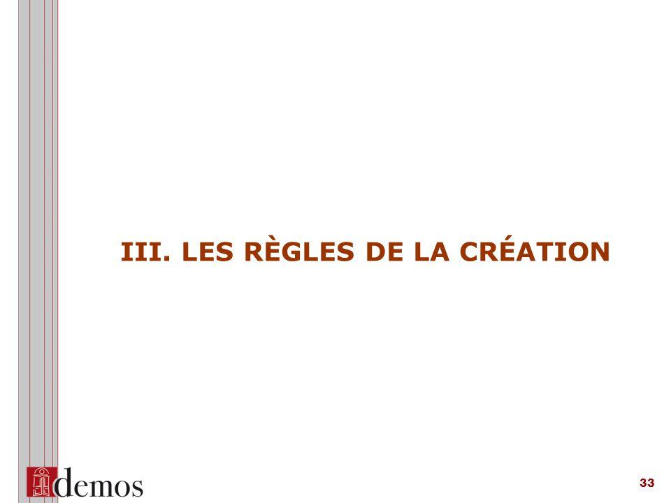 III. LES RÈGLES DE LA CRÉATION