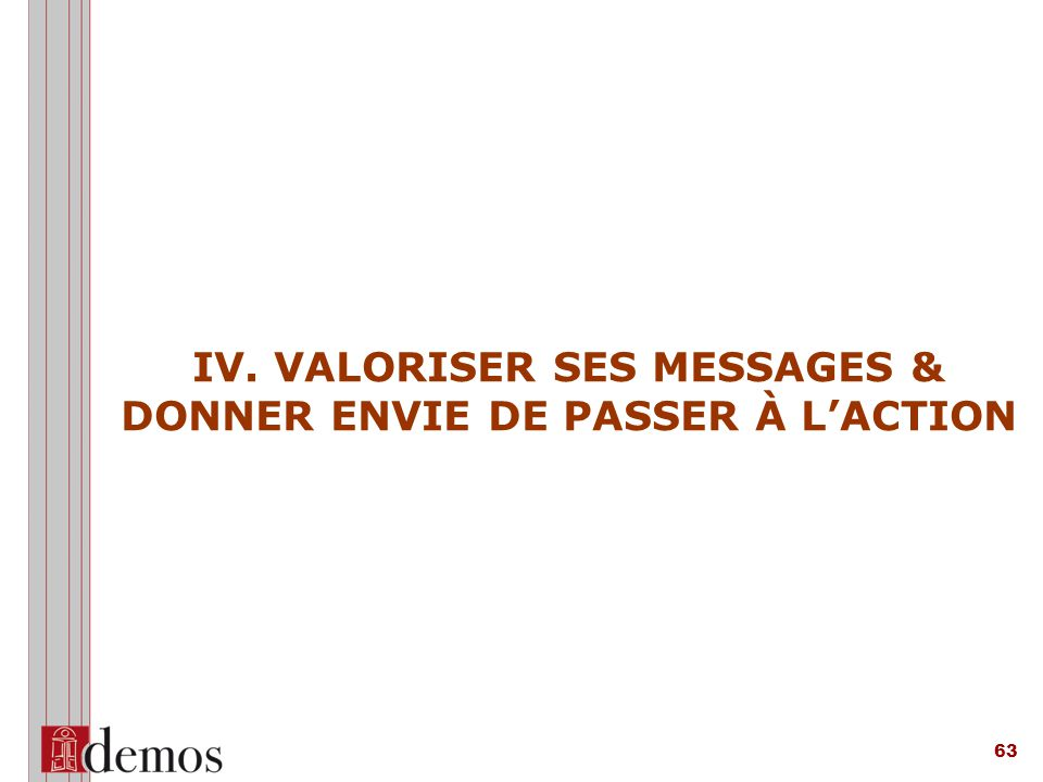 IV. VALORISER SES MESSAGES & DONNER ENVIE DE PASSER À L'ACTION