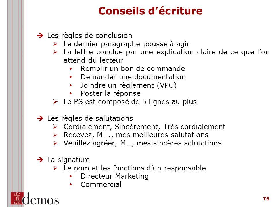 Conseils d'écriture Les règles de conclusion