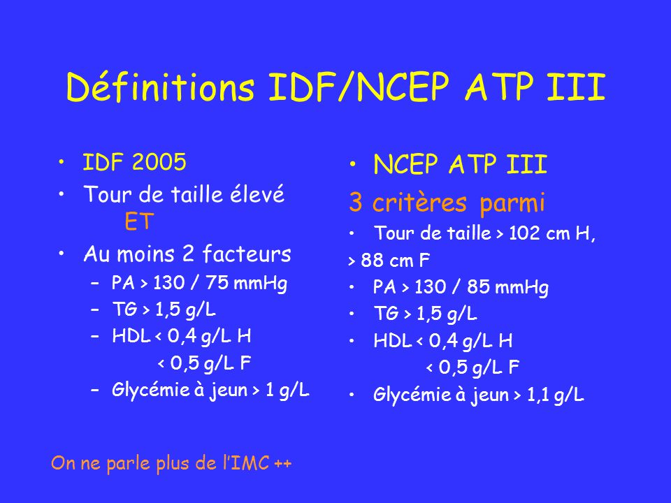 Définitions IDF/NCEP ATP III