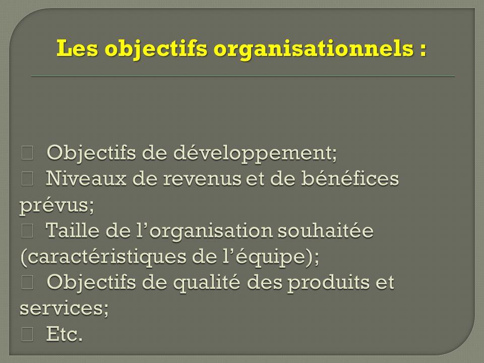 Les objectifs organisationnels :