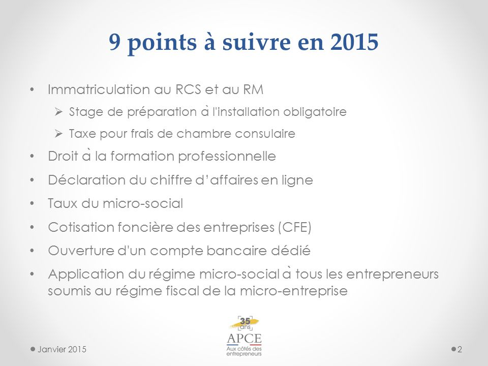 Auto entrepreneur ce qui change en 2015 janvier ppt - Declaration auto entrepreneur chambre des metiers ...