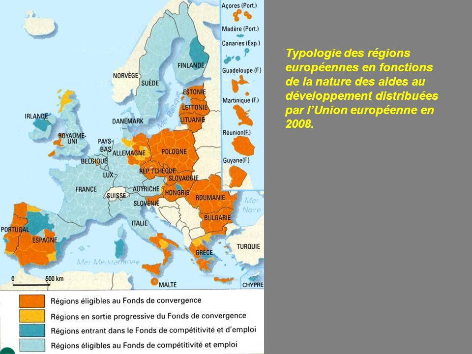 Typologie des régions européennes en fonctions de la nature des aides au développement distribuées par l'Union européenne en 2008.