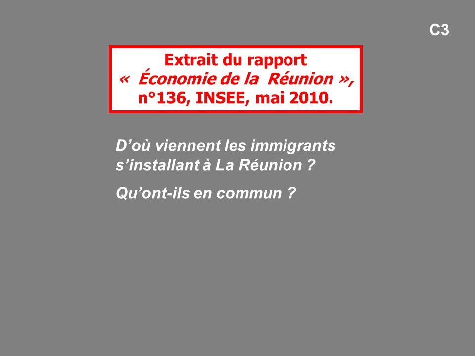 Extrait du rapport « Économie de la Réunion », n°136, INSEE, mai 2010.