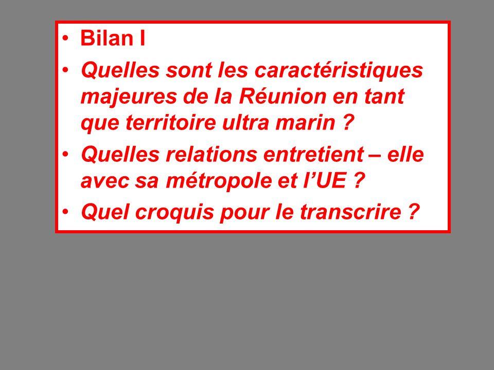 Bilan I Quelles sont les caractéristiques majeures de la Réunion en tant que territoire ultra marin