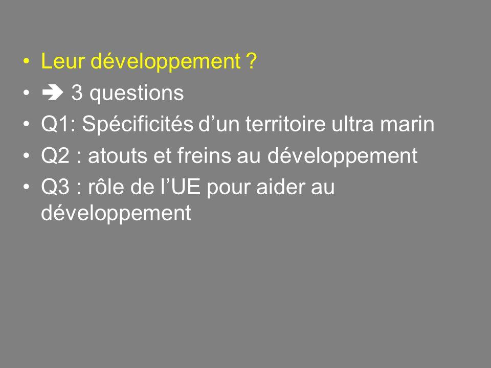 Leur développement  3 questions. Q1: Spécificités d'un territoire ultra marin. Q2 : atouts et freins au développement.
