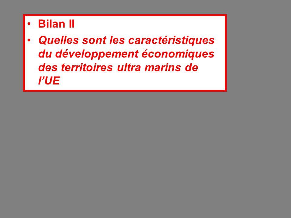 Bilan II Quelles sont les caractéristiques du développement économiques des territoires ultra marins de l'UE.
