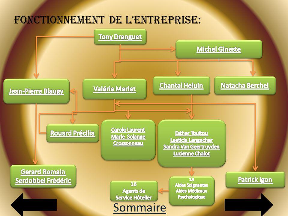 Sommaire Fonctionnement de l'entreprise: Tony Dranguet Michel Gineste