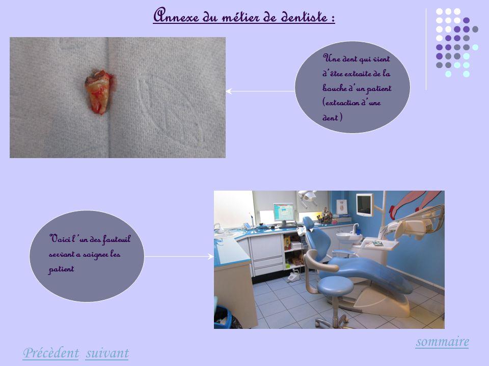 Annexe du métier de dentiste :