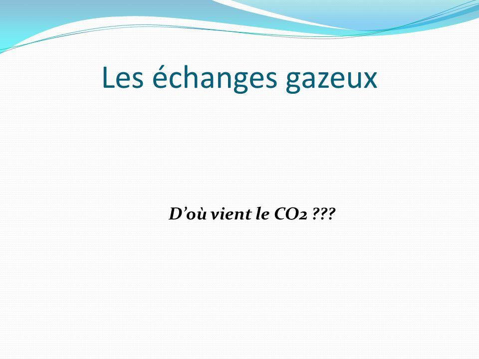 Les échanges gazeux D'où vient le CO2