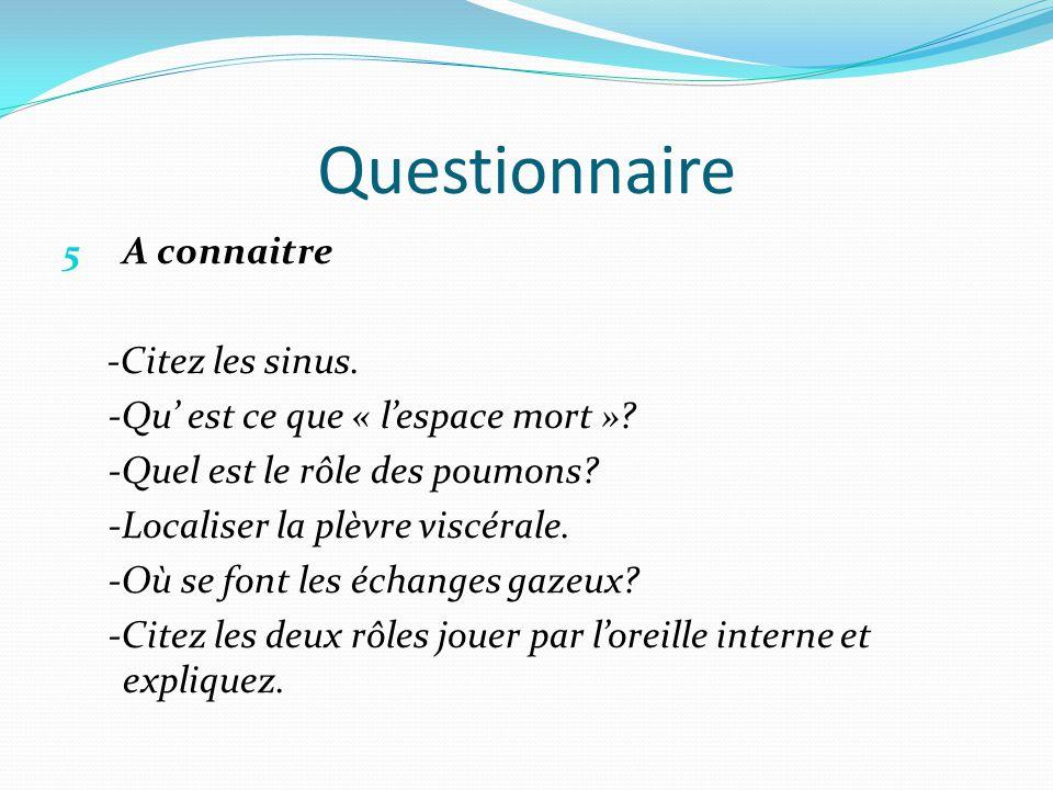 Questionnaire A connaitre -Citez les sinus.