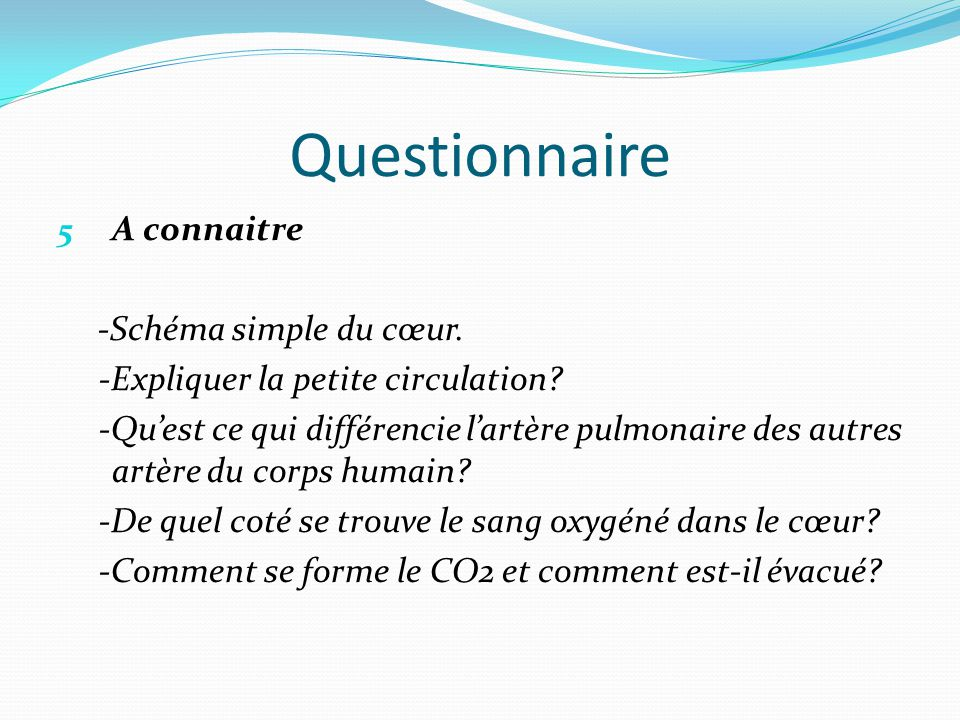 Questionnaire A connaitre -Schéma simple du cœur.