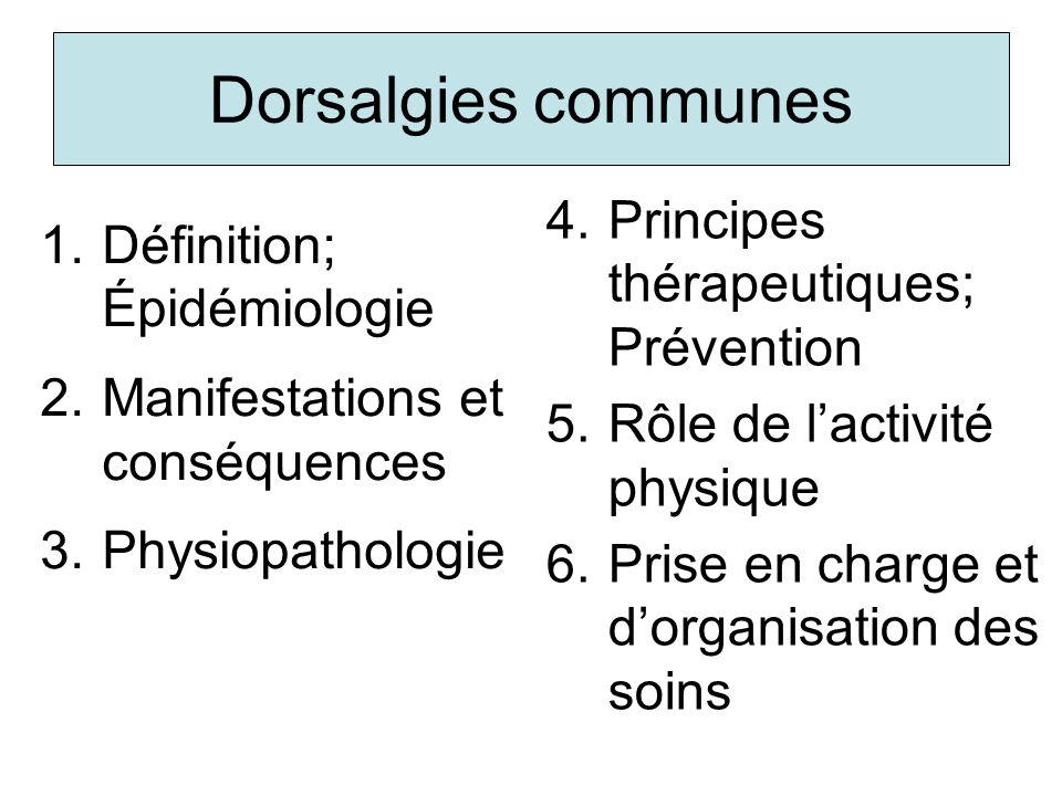 Dorsalgies communes Principes thérapeutiques; Prévention