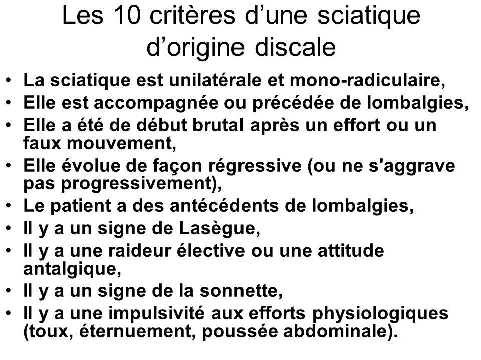 Les 10 critères d'une sciatique d'origine discale