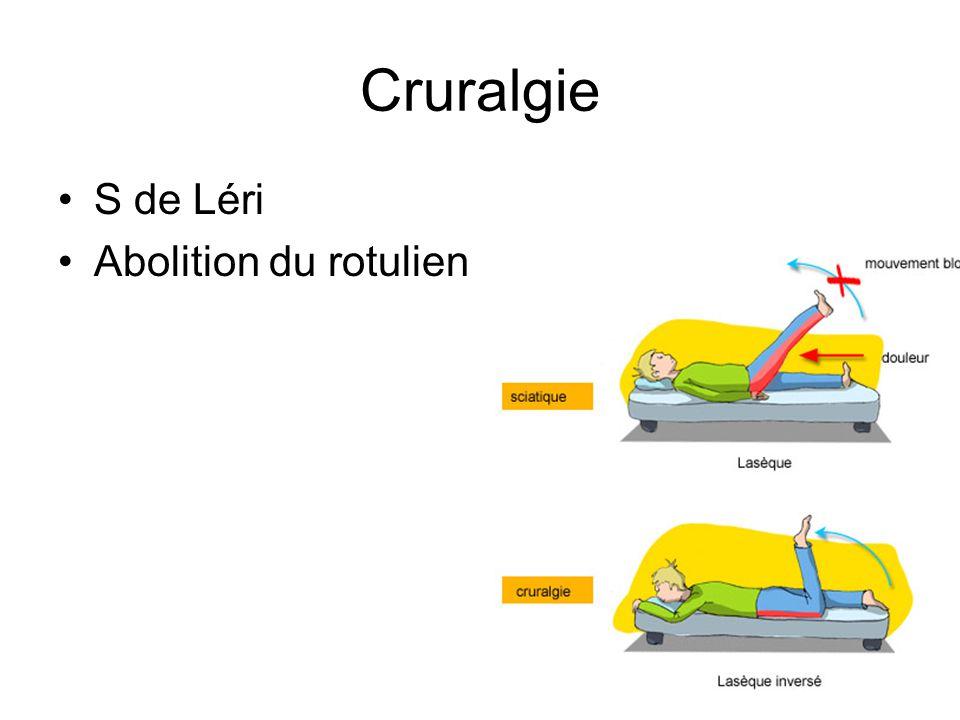 Cruralgie S de Léri Abolition du rotulien
