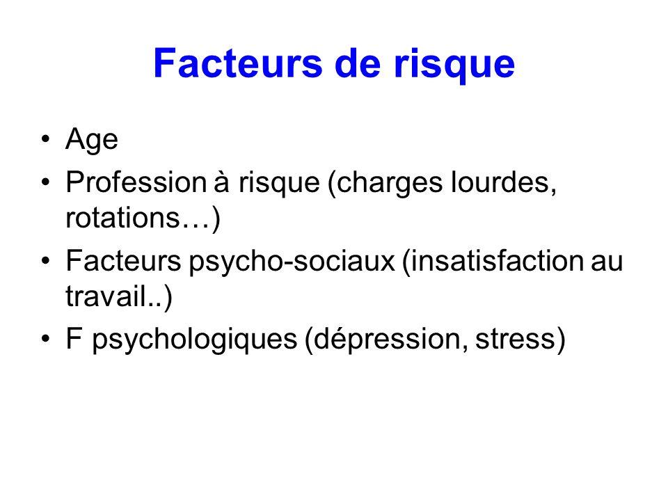 Facteurs de risque Age. Profession à risque (charges lourdes, rotations…) Facteurs psycho-sociaux (insatisfaction au travail..)