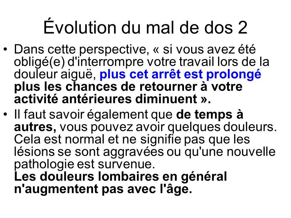 Évolution du mal de dos 2