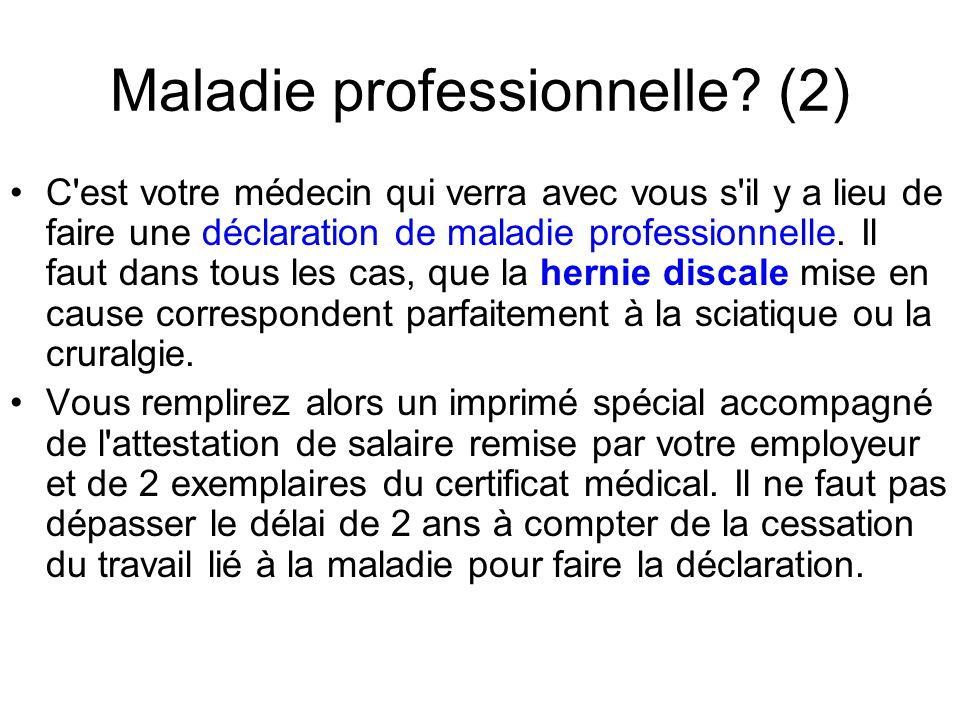 Maladie professionnelle (2)