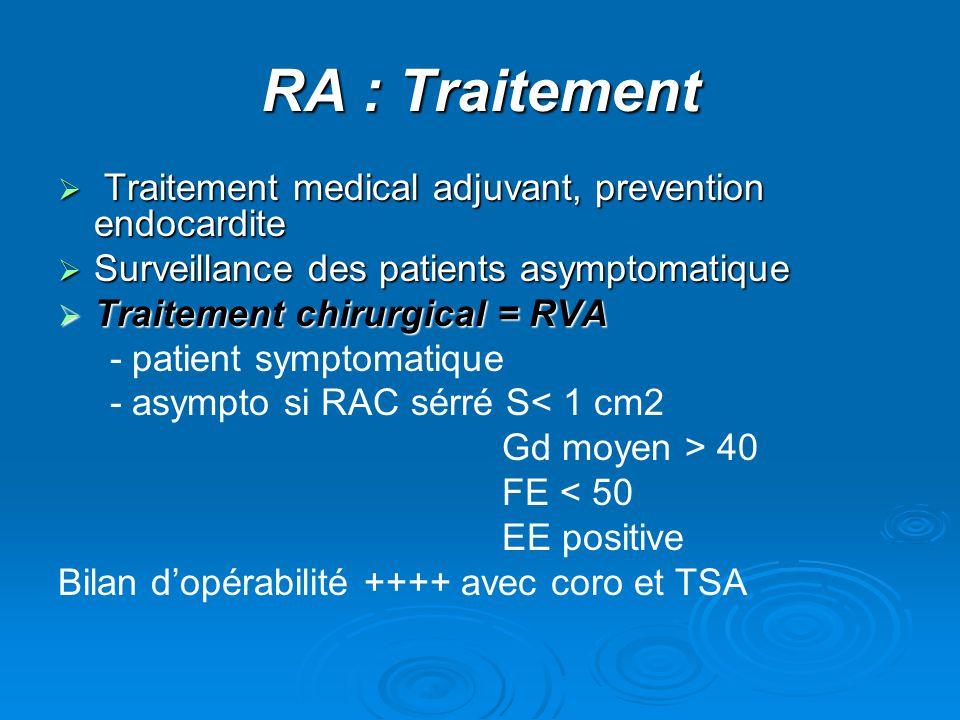 RA : Traitement Traitement medical adjuvant, prevention endocardite