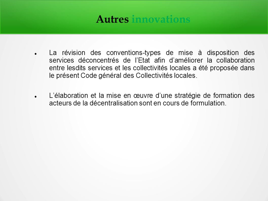 Autres innovations