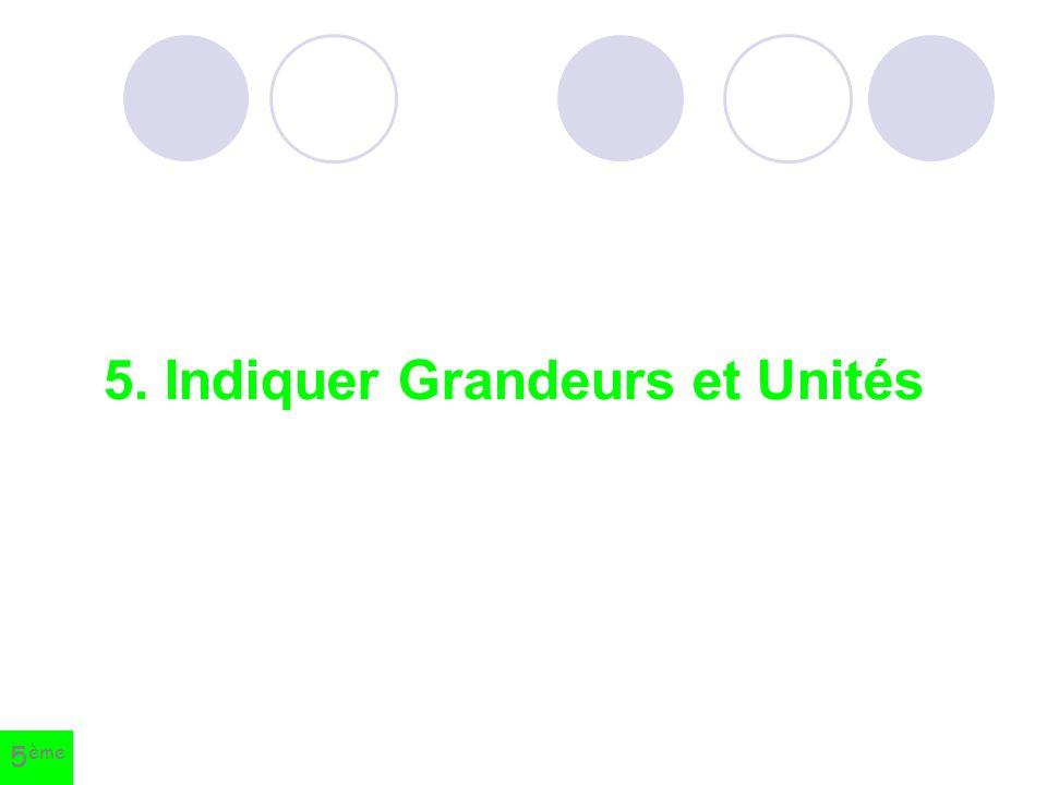 5. Indiquer Grandeurs et Unités