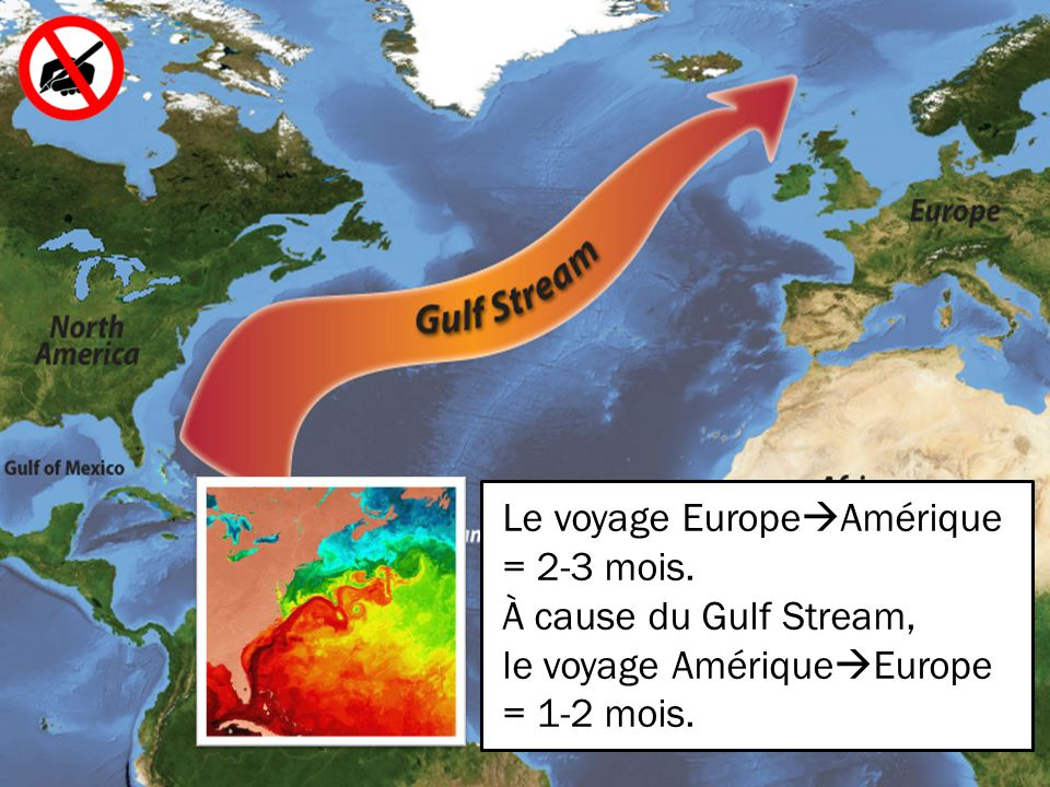 Le voyage EuropeAmérique = 2-3 mois.