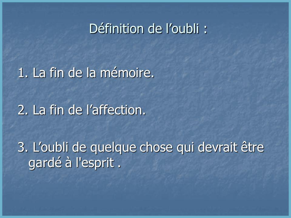 Définition de l'oubli :