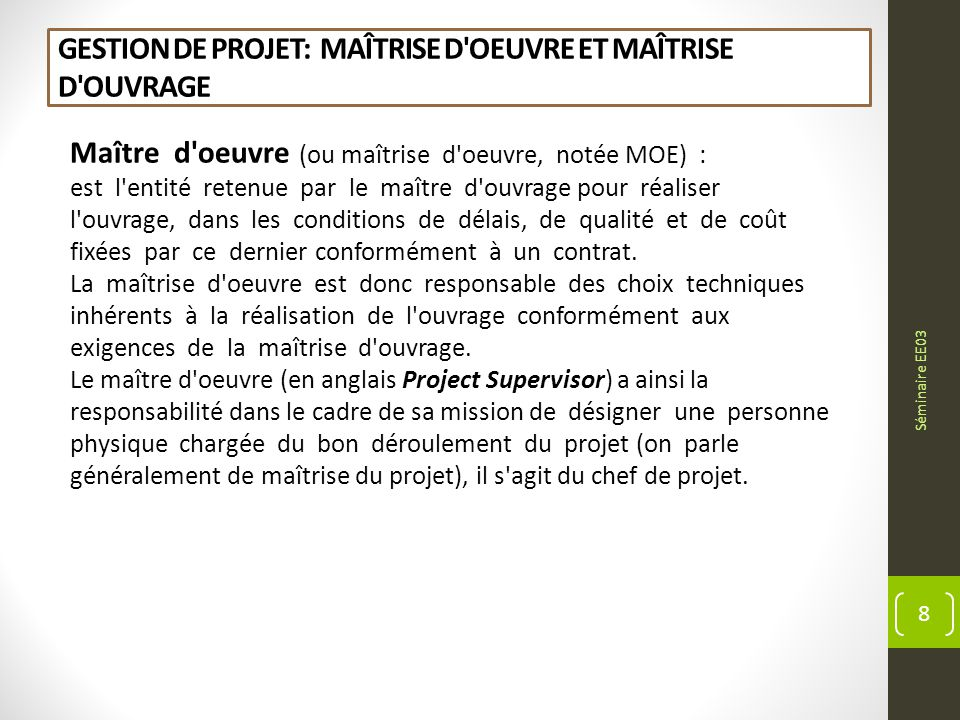 D veloppement energ tique durable innovation ppt for Maitrise d ouvrage anglais