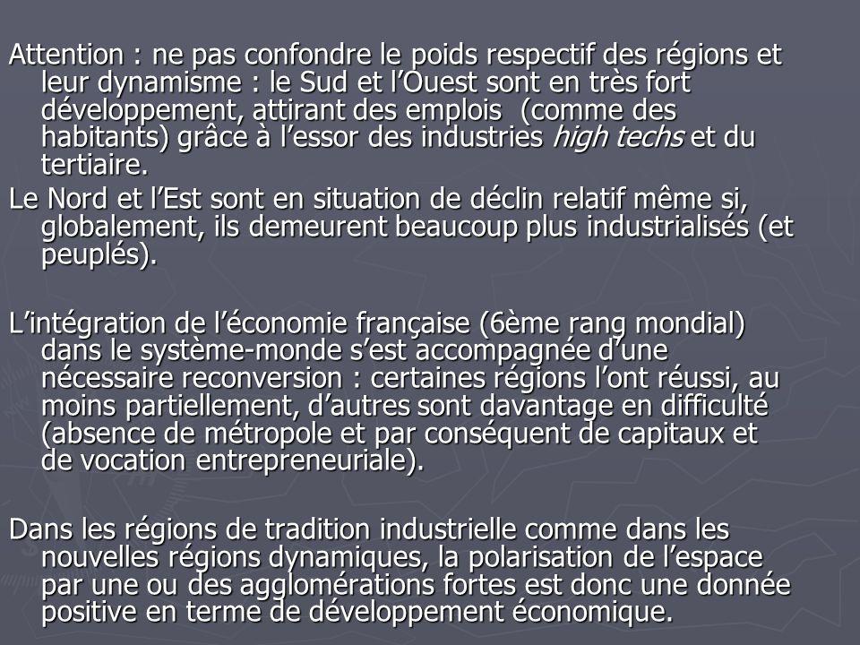 Attention : ne pas confondre le poids respectif des régions et leur dynamisme : le Sud et l'Ouest sont en très fort développement, attirant des emplois (comme des habitants) grâce à l'essor des industries high techs et du tertiaire.