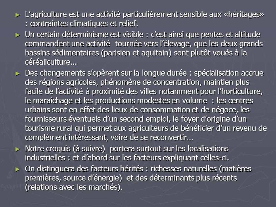 L'agriculture est une activité particulièrement sensible aux «héritages» : contraintes climatiques et relief.