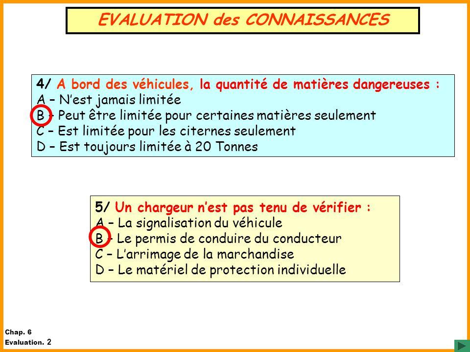 EVALUATION des CONNAISSANCES