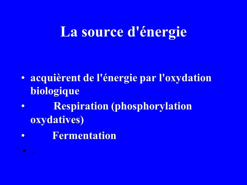 La source d énergie acquièrent de l énergie par l oxydation biologique