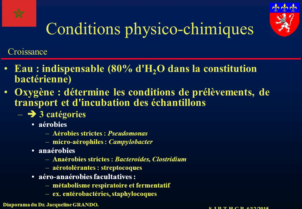 Conditions physico-chimiques
