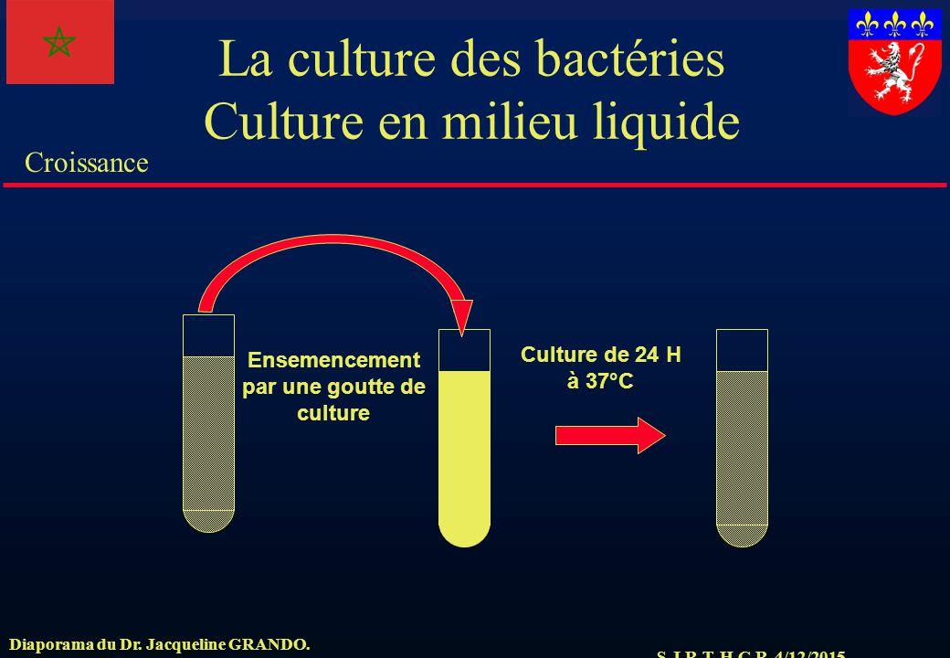 La culture des bactéries Culture en milieu liquide