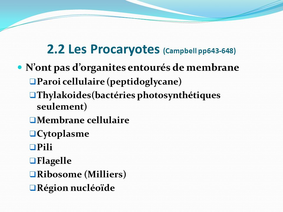 2.2 Les Procaryotes (Campbell pp643-648)
