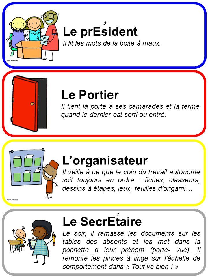 , Le prEsident Le Portier L'organisateur , Le SecrEtaire
