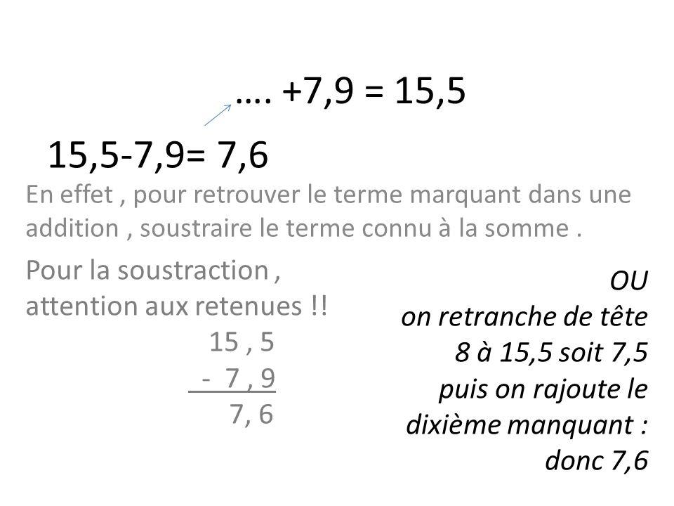 …. +7,9 = 15,5 15,5-7,9= 7,6. En effet , pour retrouver le terme marquant dans une addition , soustraire le terme connu à la somme .