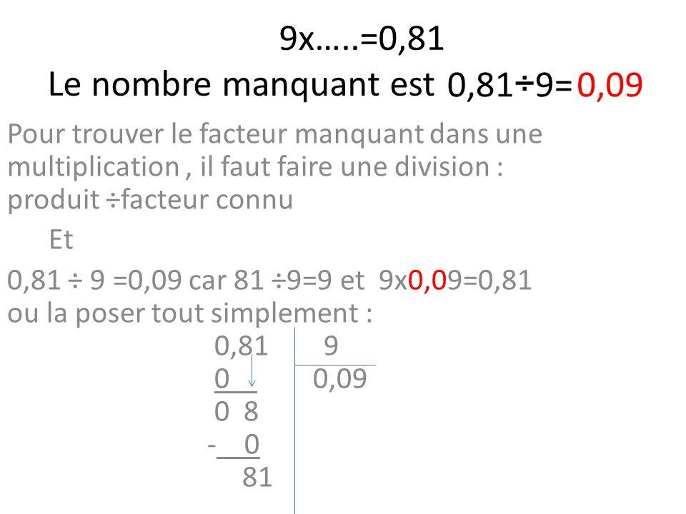 9x…..=0,81 Le nombre manquant est