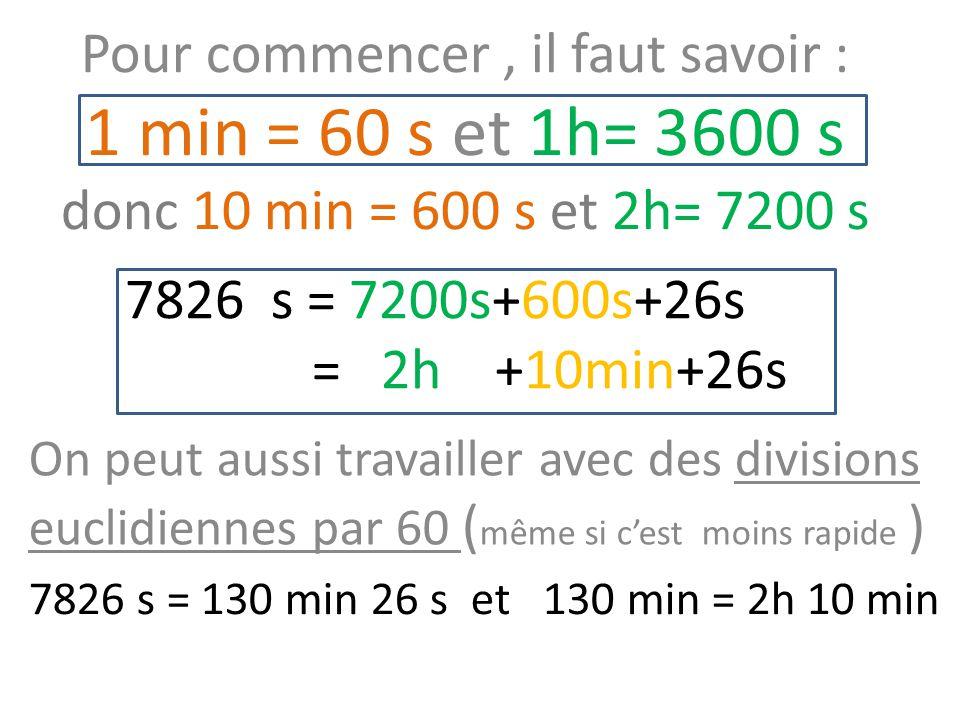 Pour commencer , il faut savoir : 1 min = 60 s et 1h= 3600 s donc 10 min = 600 s et 2h= 7200 s