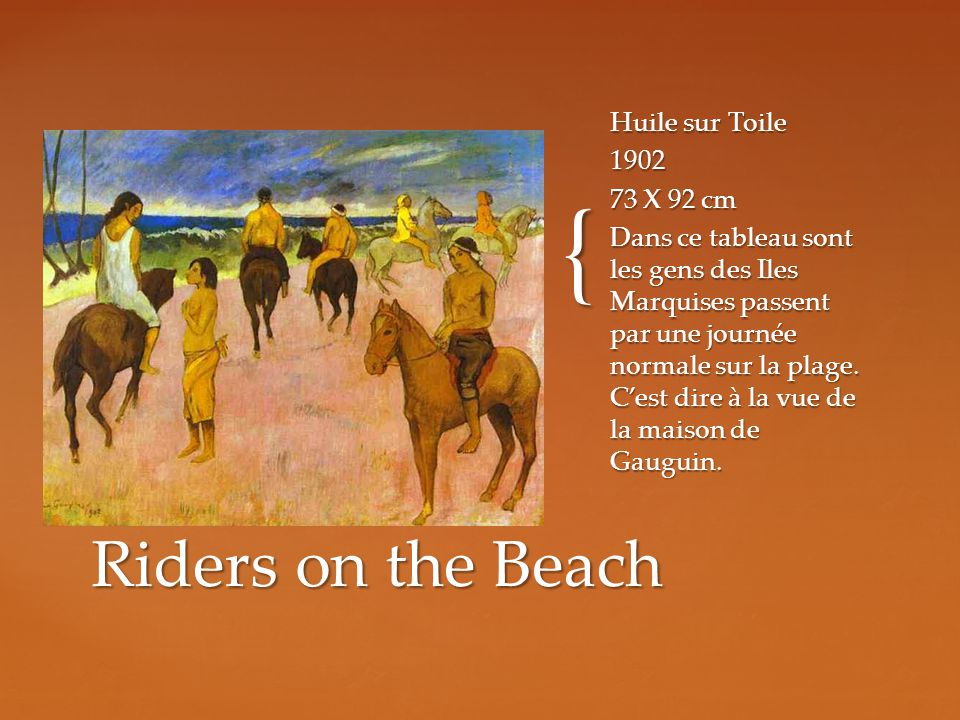 Riders on the Beach Huile sur Toile X 92 cm
