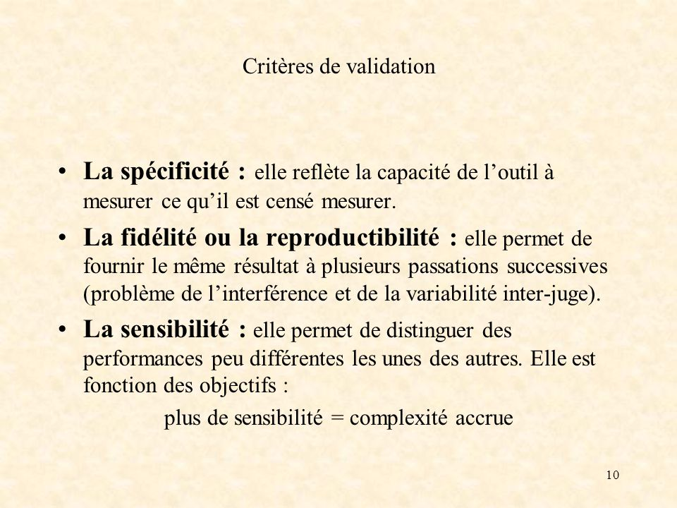 Critères de validation